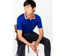 Blue Cotton Contrast Stripe-Collar Polo Shirt