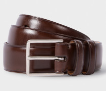 Chocolate Brown Leather Double Keeper Classic Suit Belt