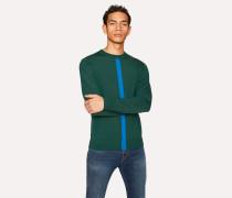 Green Wool Sweater With Blue Stripe
