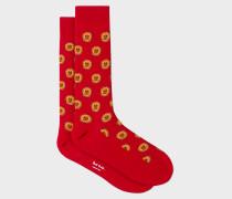 Red Sun Motif Socks