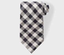Black And Ecru Gingham Silk Tie
