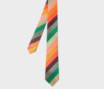 'Artist Stripe' Narrow Silk Tie With 'Ocean' Lining