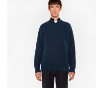 Nepped Navy Wool Sweater