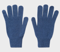 Blue Cashmere-Blend Gloves