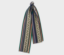 Green And Navy 'Indian Summer' Pattern Cotton-Silk Scarf