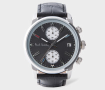Grey And Black 'Block' Chronograph Watch