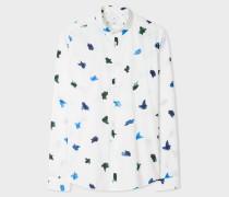 Slim-Fit White 'Brush Strokes' Print Cotton Shirt