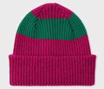 Raspberry Pink Ribbed Lambswool Beanie Hat With Green Stripe