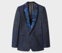 Black Shawl Collar Tuxedo Jacket With 'Ocean' Embroidery
