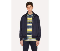 Navy Cotton-Blend Panelled Track Top