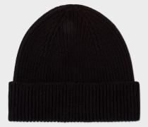 Black Cashmere-Blend Beanie Hat