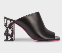 Black Calf Leather 'Molly' Heeled Sandals