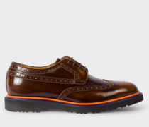 Dark Tan High-Shine Leather 'Crispen' Brogues