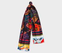 Black 'Ocean' Print Silk-Blend Scarf