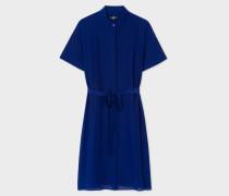 Cobalt Blue Silk Shirt-Dress