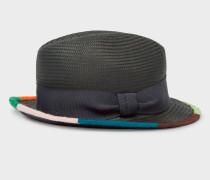 Black 'Artist Stripe' Border Plaited Hat
