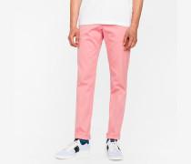 Slim-Fit Pink Cotton-Twill Stretch Chinos