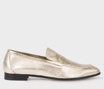 Gold Leather 'Glynn' Penny Loafers