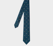 Petrol Embroidered Rabbit Motif Narrow Silk Tie