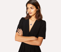 Black Seersucker Wool Wrap Dress