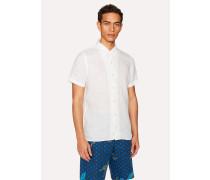 Classic-Fit White Linen Short-Sleeve Shirt