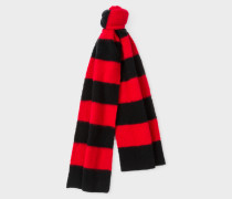 Red And Black Stripe Lambswool Scarf
