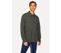 Charcoal Grey Stretch-Cotton Twill Field Jacket