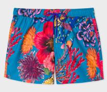 Blue 'Ocean' Print Swim Shorts