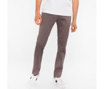 Slim-Fit Grey Cotton-Twill Stretch Chinos