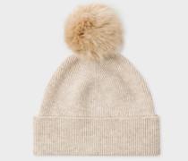 Beige Lambswool Bobble Hat