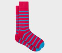 Red Neon Blue Stripe Socks