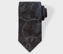 Navy Embroidered Floral Pattern Silk Tie