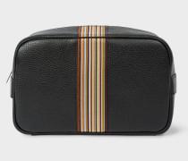 Black Leather Signature Stripe Wash Bag