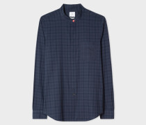 Tailored-Fit Navy Check Band-Collar Shirt
