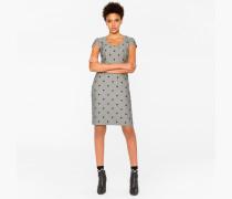 Herringbone Dress With Flocked Polka Dots
