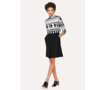 Black A-Line Wool-Hopsack Skirt