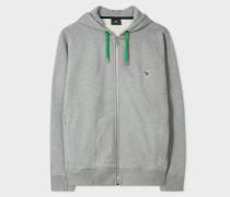 Grey Organic-Cotton Zip-Front Zebra Logo Hoodie