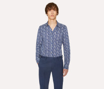 Slim-Fit Slate Blue Stretch-Cotton Twill Trousers