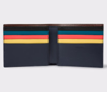 Navy Leather Colour Band Interior Billfold Wallet