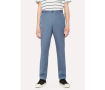 Mid-Fit Slate Blue Linen-Blend Chinos