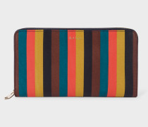 Large Bright Stripe Leather Zip-Around Wallet