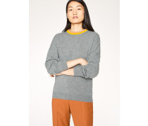 Grey Cashmere Sweater With Contrast Collar