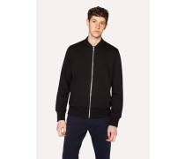 Black Organic Loopback-Cotton Bomber Jacket