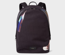 Black Canvas 'Feather' Print Backpack