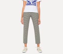 Slim-Fit 'Dogtooth' Cotton Trousers