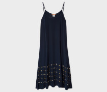 Navy Silk Slip-Dress With Embellishments