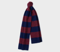 Navy And Burgundy Stripe Lambswool Scarf