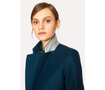 Indigo Blue Wool-Cashmere Epsom Coat
