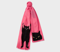Pink Embroidered 'Cat' Pattern Wool Scarf