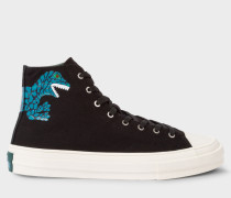 Black Canvas 'Kirk' Trainers With 'Dino' Print